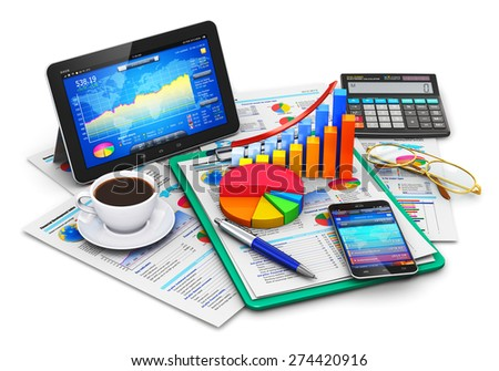 Mobile office, stock market trading, statistics accounting, financial development and banking business concept: tablet computer, smartphone, growth bar chart and pie diagram on report documents - stock photo