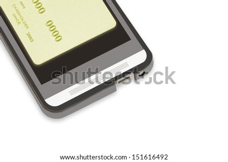 Mobile pay the easy way. Bottom part of a smartphone and plastic credit card on the black phone screen.Isolated on a white background.Copyspace, room for text.Isolated on white background. Horizontal. - stock photo
