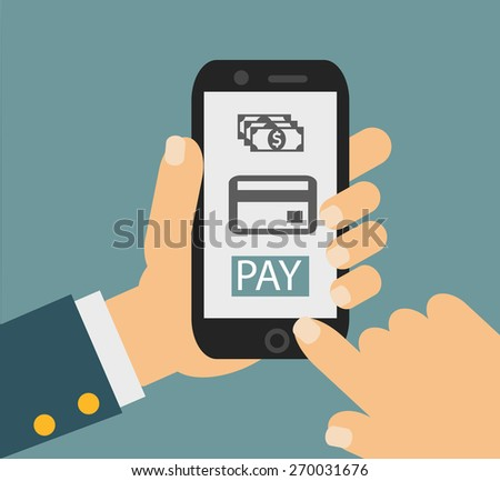 mobile payment credit card, hand holding phone, flat design - stock photo