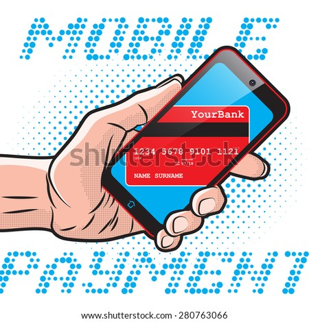 Mobile Payment using Smartphone and Credit Card, Online Banking Communication Technology - stock photo