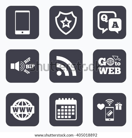 Mobile payments, wifi and calendar icons. Question answer icon. Smartphone and Q&A chat speech bubble symbols. RSS feed and internet globe signs. Communication Go to web symbol. - stock photo