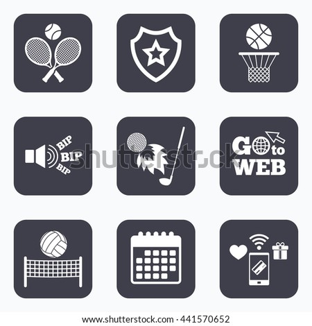Mobile payments, wifi and calendar icons. Tennis rackets with ball. Basketball basket. Volleyball net with ball. Golf fireball sign. Sport icons. Go to web symbol. - stock photo