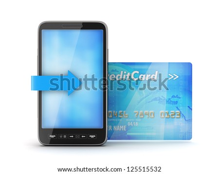 Mobile phone and credit card - stock photo