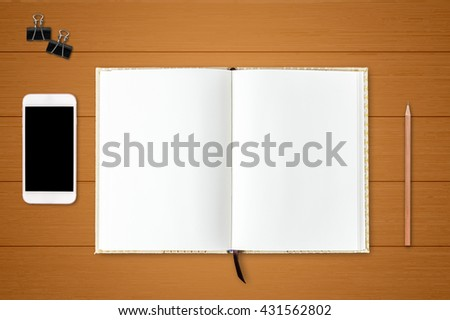 Mobile phone and diary notebook on wood table background, Business template mock up for adding your text - stock photo