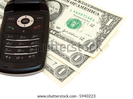 Mobile phone and dollars on white - stock photo