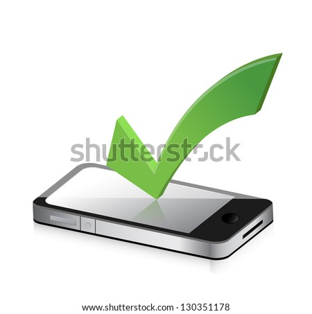 Mobile phone and icon with symbol of tick mark illustration design