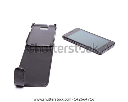 Mobile phone and leather case over white background