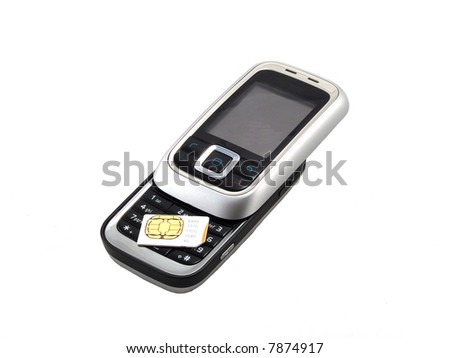 Mobile phone and sim card - stock photo