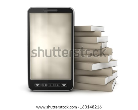 Mobile phone and stack of books - stock photo