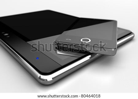 Mobile phone and tablet - also as footage available - stock photo