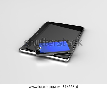 Mobile phone and tablet  - also as footage in my portfolio available - stock photo