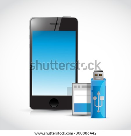 mobile phone and usb and memory card illustration design graphic - stock photo