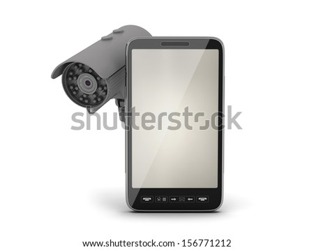 Mobile phone and video surveillance camera - stock photo