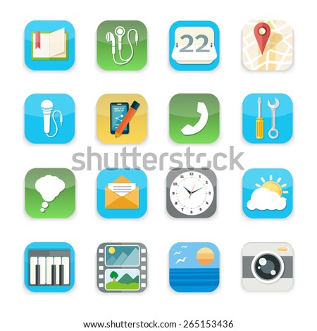 Mobile phone applications icons set of music weather calendar camera video in flat design isolated on stylish background. Raster version - stock photo