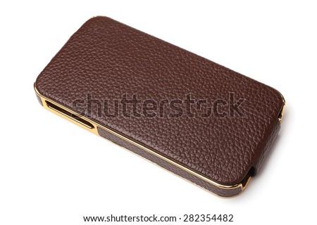 Mobile phone case on white background - stock photo