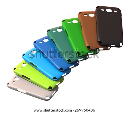Mobile phone cases isolated on white - stock photo