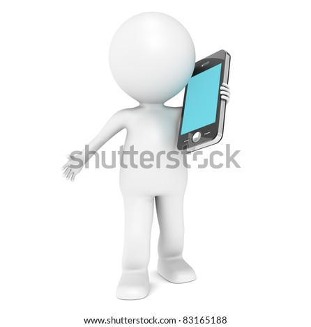 Mobile Phone. 3D little human character Talking in a Mobile Phone - stock photo
