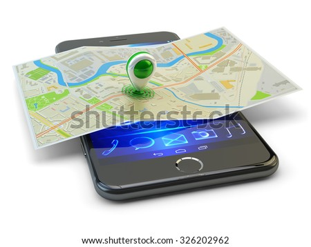 Mobile phone gps navigation, travel destination, location and positioning concept, modern smartphone with city map and marker pin pointer on it isolated on white background