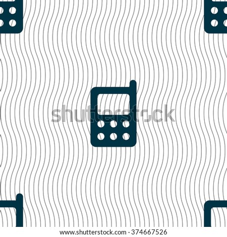 mobile phone icon sign. Seamless pattern with geometric texture. illustration - stock photo