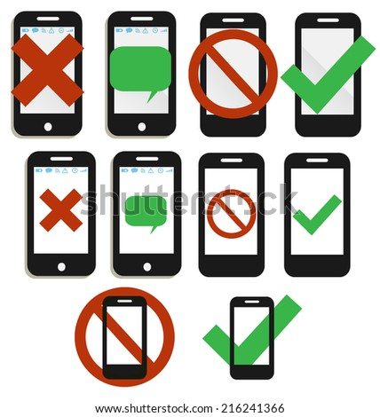 Mobile phone icons, no phones allowed - stock photo