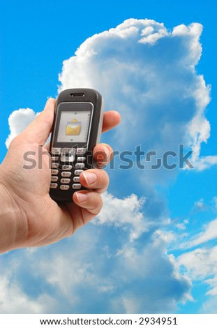 mobile phone in a blue sky (technology concept)
