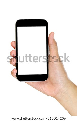 mobile phone in a woman's hand isolated - stock photo