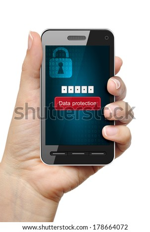 Mobile phone in female hand protected with password - stock photo