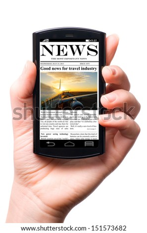 mobile phone in hand with news on touch screen, isolated on white - stock photo