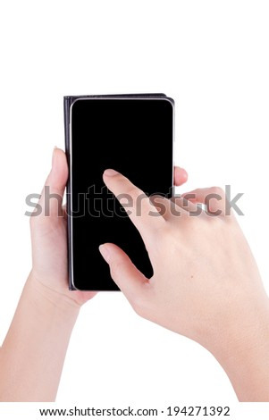 Mobile phone in hands isolated on white background
