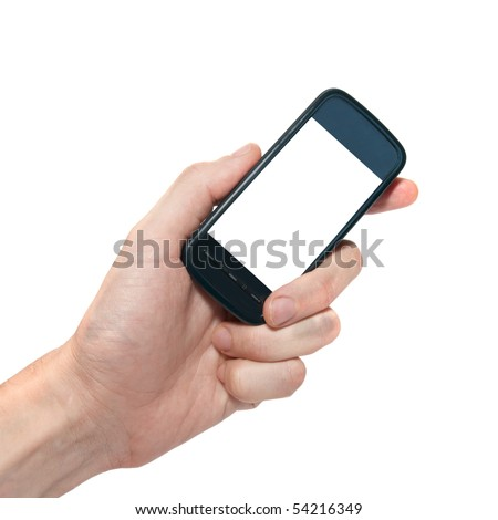 Mobile phone in the hand isolated on white - stock photo