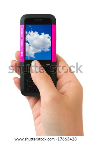Mobile phone in woman hand isolated on white background - stock photo