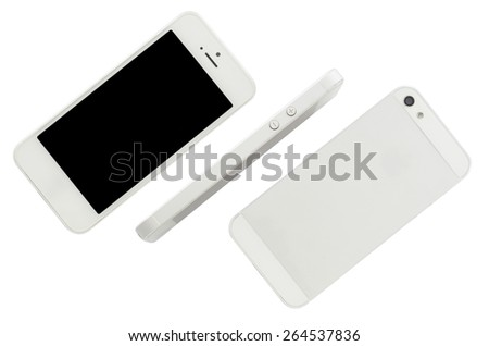 Mobile phone isolate on white background - stock photo