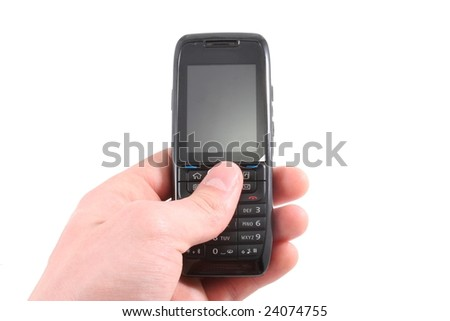 Mobile phone isolated on white with hand which is holding it.