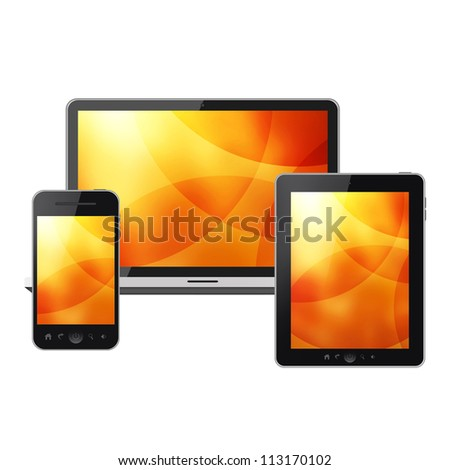 Mobile phone, notebook and tablet pc isolated on white background - stock photo