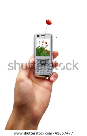 Mobile phone of ecology. Element of design. - stock photo