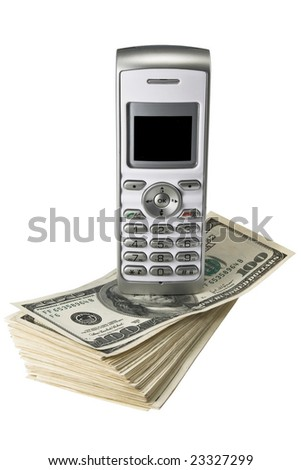 Mobile phone on dollars, isolated on a white background - stock photo