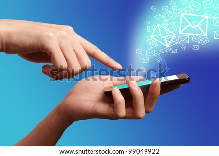 Mobile Phone on hand connect to the world - stock photo