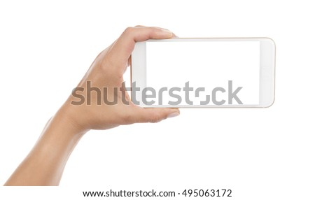 Mobile Phone on Hand Isolated
