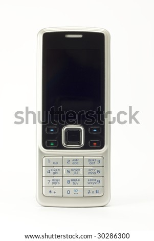 Mobile phone over white