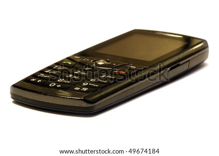 Mobile phone over white background - stock photo