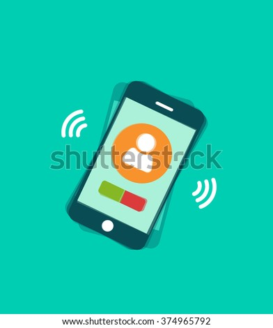 Mobile phone ringing illustration with signal waves and vibration, phone calling with touchscreen display elements, phone call modern trendy design isolated on green image - stock photo