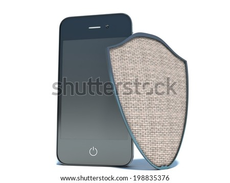 Mobile phone security concept. Cellphone and shield