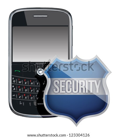mobile phone security shield illustration design over white - stock photo
