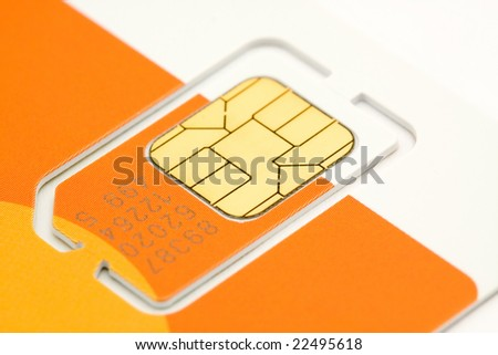 mobile phone sim card macro shot - stock photo