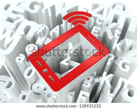 Mobile Phone Simbol on White Alphabet Wordcloud. Mobility Concept. Background for Your Publication or Blog. - stock photo