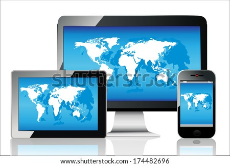 Computer monitor laptop tablet pc mobile vectores en stock 142892503 mobile phone tablet pc and computer world map gumiabroncs Gallery