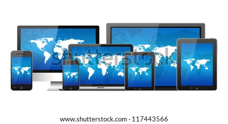 Mobile phone, tablet pc, notebook and computers - stock photo