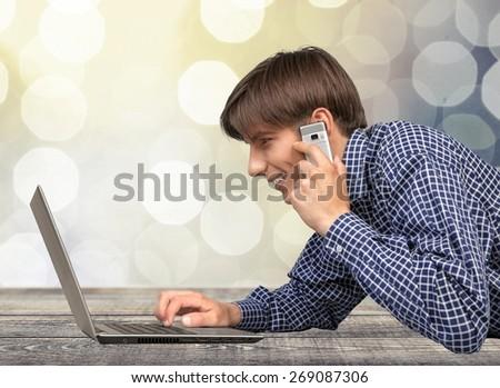 Mobile Phone, Telephone, Laptop. - stock photo