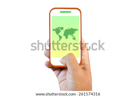 Mobile phone touch screen  world Map - stock photo