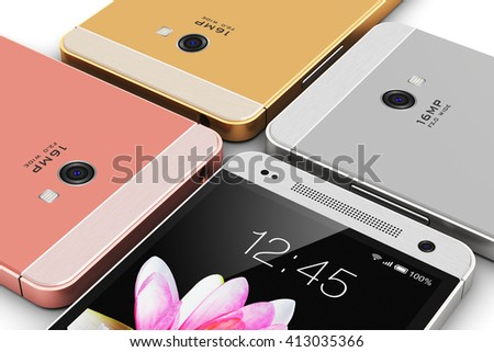 Mobile phone wireless communication technology concept: 3D render illustration of group of touchscreen smartphones with colorful application interface with color icons and buttons isolated on white - stock photo